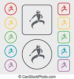 Karate kick icon sign symbol on the Round and square buttons...