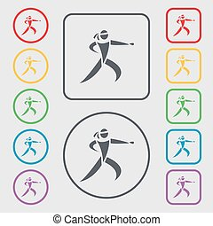 Karate kick icon sign. symbol on the Round and square buttons with frame. Vector