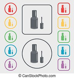 NAIL POLISH BOTTLE icon sign. symbol on the Round and square buttons with frame. Vector