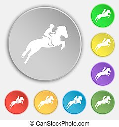 Horse race. Derby. Equestrian sport. Silhouette of racing horse icon sign. Symbol on eight flat buttons. Vector