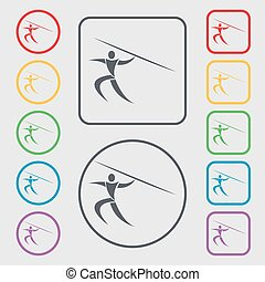 Summer sports, Javelin throw icon sign. symbol on the Round and square buttons with frame. Vector