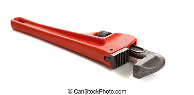 orange pipe wrench on white - An orange pipe/monkey wrench...
