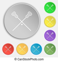 Lacrosse Sticks crossed icon sign. Symbol on eight flat buttons. Vector