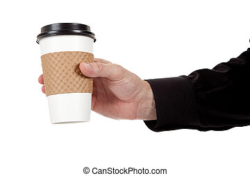 Man holding a paper coffee cup on white