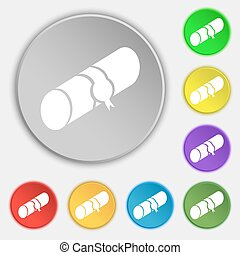 pencil case icon sign Symbol on eight flat buttons Vector...