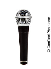 Black and silver microphone on a white background - A black...
