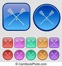 Lacrosse Sticks crossed icon sign A set of twelve vintage...