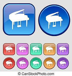 Grand piano icon sign. A set of twelve vintage buttons for...