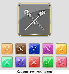 Lacrosse Sticks crossed icon sign Set with eleven colored...