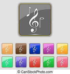 musical notes icon sign. Set with eleven colored buttons for your site. Vector