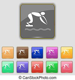 Summer sports, diving icon sign. Set with eleven colored buttons for your site. Vector