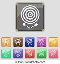 darts icon sign Set with eleven colored buttons for your...