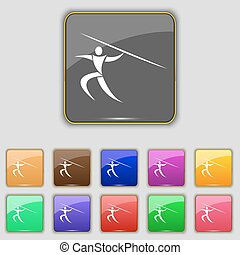 Summer sports, Javelin throw icon sign. Set with eleven colored buttons for your site. Vector