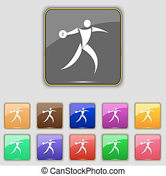 Discus thrower icon sign. Set with eleven colored buttons...