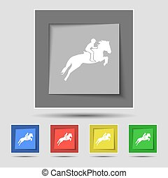 Horse race. Derby. Equestrian sport. Silhouette of racing horse icon sign on original five colored buttons. Vector
