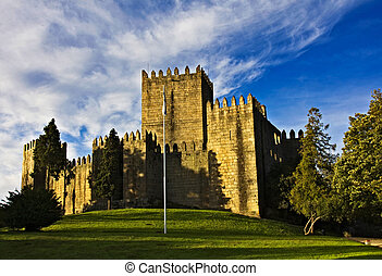 Guimaraes Castle, and surrounding park, in the north of...