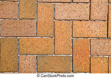 Red Pavers - Sidewalk made of red brick pavers edged with...