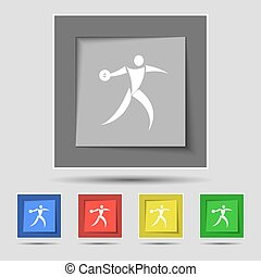 Discus thrower icon sign on original five colored buttons...