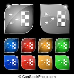 cockroach races icon sign Set of ten colorful buttons with...