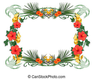 Tropical flowers border - Image and illustration composition...