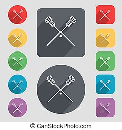 Lacrosse Sticks crossed icon sign A set of 12 colored...