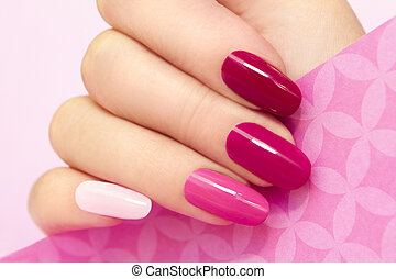 Manicure in pink. - Multicolored manicure with different...