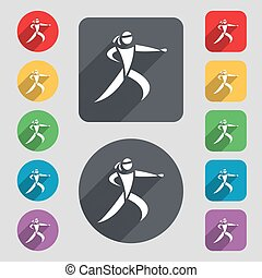 Karate kick icon sign. A set of 12 colored buttons and a...