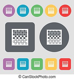 checkers board icon sign. A set of 12 colored buttons. Flat design. Vector