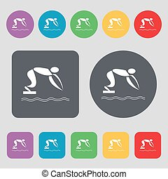 Summer sports, diving icon sign. A set of 12 colored buttons. Flat design. Vector