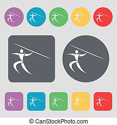 Summer sports, Javelin throw icon sign. A set of 12 colored buttons. Flat design. Vector