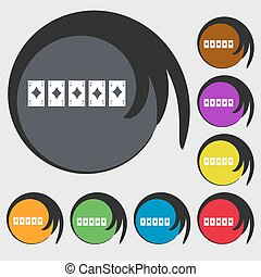 A royal straight flush playing cards poker hand in hearts icon. Symbols on eight colored buttons. Vector