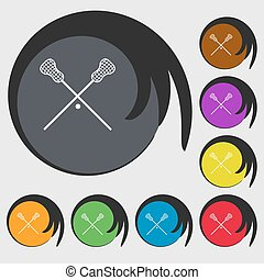 Lacrosse Sticks crossed icon. Symbols on eight colored buttons. Vector
