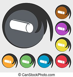 pencil case icon Symbols on eight colored buttons Vector...