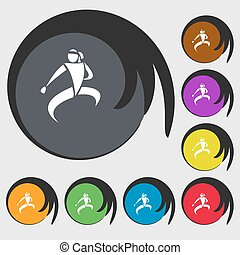 Karate kick icon Symbols on eight colored buttons Vector...
