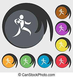 Rugby player running with ball icon. Symbols on eight colored buttons. Vector