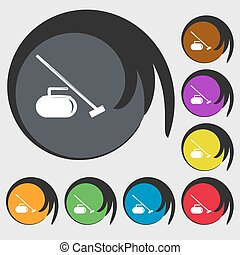 The stone for curling icon Symbols on eight colored buttons...