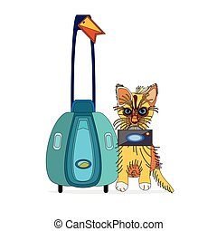 cat the explorer - an outlined vector illustration of a...