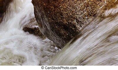 Mountain Stream Closeup - Macro shot of water running over...