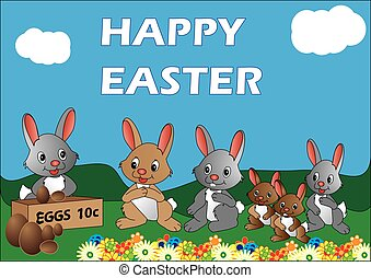 Easter Bunnies - Vector image of rabbits lining up to buy...