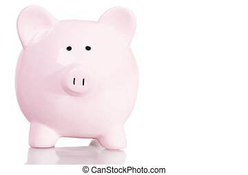 Piggy bank - Stock image of pink piggy bank with copy space...