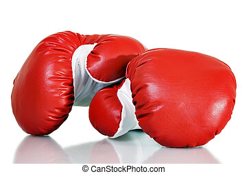 Boxing - Stock image of red boxing gloves over white...