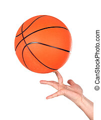 Hands making balancing with a basketball isolated on white...