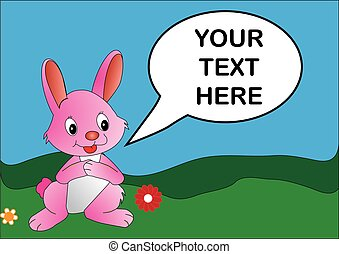 Pink rabbit - Vector image of a pink rabbit with editable...