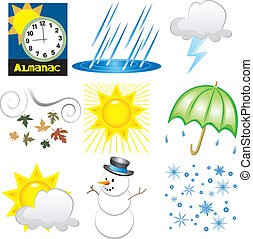 Weather Icons - Vector Illustration of 9 Weather Icons. Very...