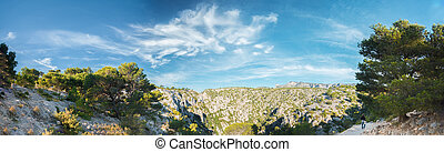 Panorama of summer nature of Calanques on the azure coast of...