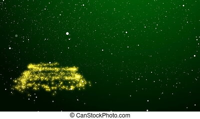 Abstract Christmas tree of golden lights appearing in the snow