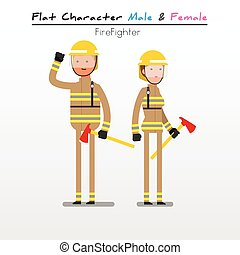 Flat Character Fire Fighter