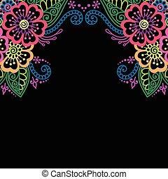 Henna flower vector ornament frame