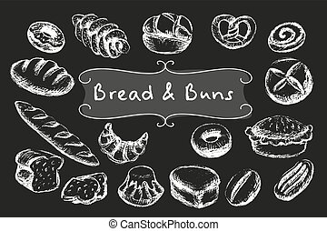 Chalk bakery food set. - Chalk bread and buns set. White...