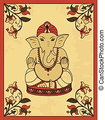 Vintage card with Lord Ganesha Vector poster in retro style...